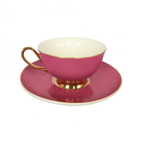 Gold rim Teacup and saucer, H6x Dia15cm, Pink
