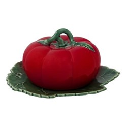 Tomato Covered butter dish, 20 x 18 x 9cm, natural