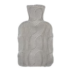 Cable Knit Hot water bottle, dark grey