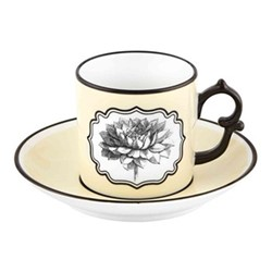 Herbariae Coffee cup and saucer, 12 x 6cm, yellow
