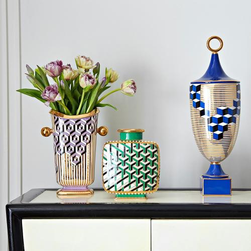 Versailles Hex vase, W20.32 x D12.1 x H26.67 cm, Purple/Metallic Gold