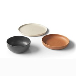 Ingram 12 piece dinnerware set, Ivory, Charcoal and Terracotta