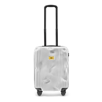 Stripe Cabin suitcase, H55 x W40 x D20cm, white