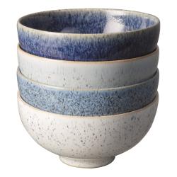 Studio Blue 4 piece rice bowl set, L13 x W13 x D6.5cm / Capacity: 480ml, Blue Tones