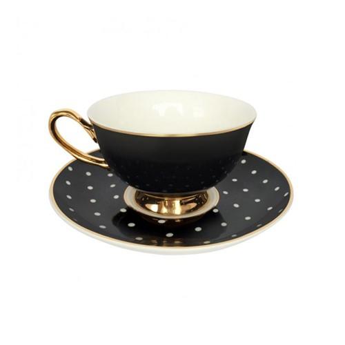 Spotty Teacups and saucer, H6x Dia15cm, Black/White