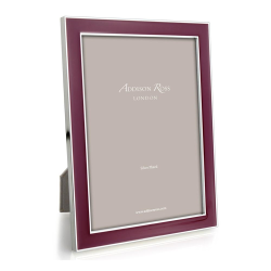 """Enamel Range Photograph frame, 4 x 6"""" with 15mm border, Plum With Silver Plate"""