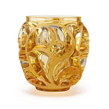 Tourbillons Vase, H12.6 x D12.2cm, amber