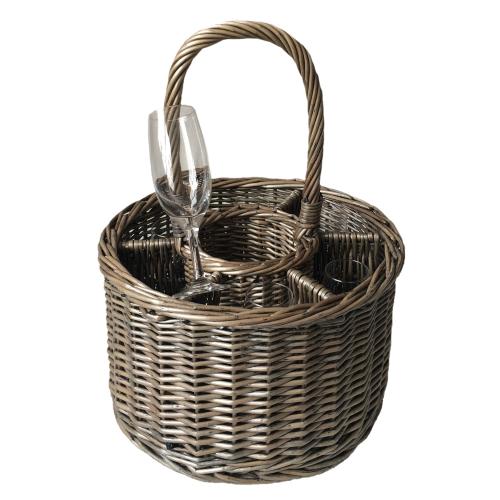 Special event basket (includes 6 glasses), 20 x 32cm, 43cm with handle, Antique Wash