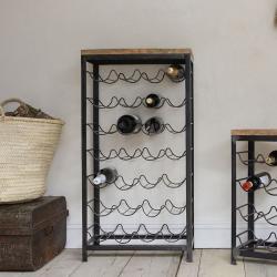 Obra Large industrial wine rack, 105 x 54 x 26cm, Mango Wood & Iron