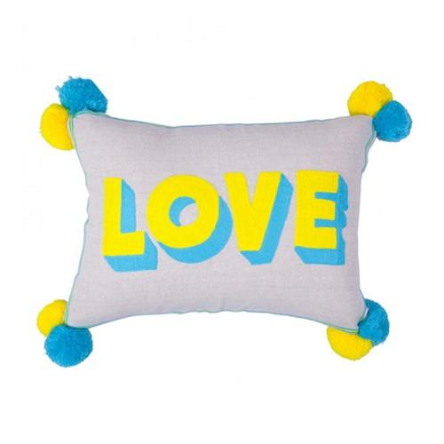 Love Embroidered linen cushion, L50 x W35cm, Multi