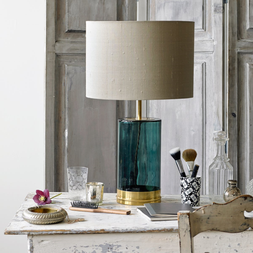Wisteria Table lamp - base only, H39 x W15cm, Brass And Green Glass