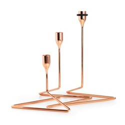 Puzzle Set of 3 candlesticks, copper