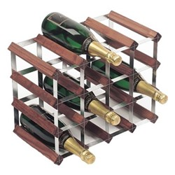 16 bottle wine rack, H33 x W43 x D23cm, dark/galvanised steel