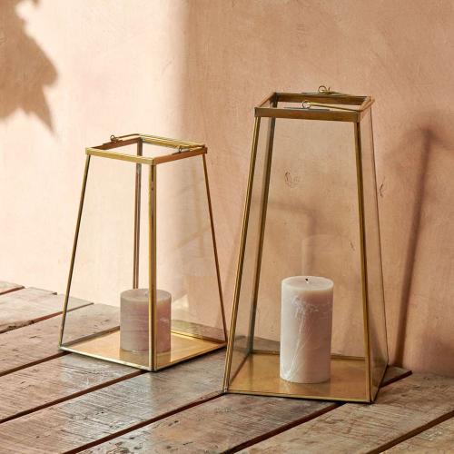 Moyo Small lantern, H29 x W17.5cm, Antique Brass