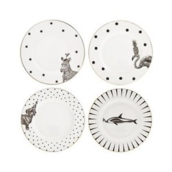 Animal Set of 4 cake plates, 16cm