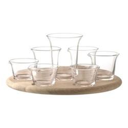 Serve Tapas set and base, 34cm, glass/oak