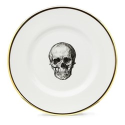 Skull Salad plate, 23cm, crisp white/burnished gold edge