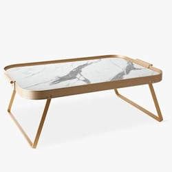 Ribbed Marble Breakfast in bed tray, H19 x L51 x W33cm, rose gold/white marble