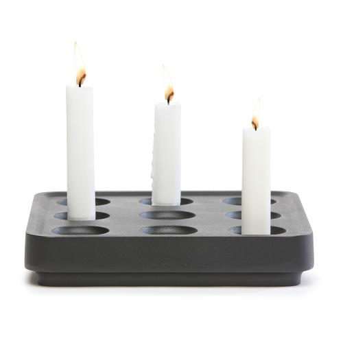Stumpastaken Small candle holder, 22.5 x 22.5 x 4cm, Black Outdoor