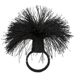 Tassel Set of 4 napkin rings, D4cm, black
