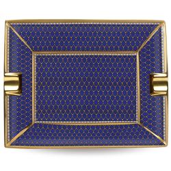 Antler Trellis Ashtray, 20 x 15.5cm, Midnight Blue And Gold
