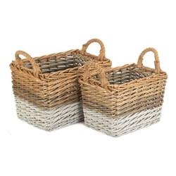 Triple Tone Set of 2 retangular storage baskets, willow