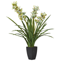 Faux cymbidium orchid with narrow vase, H115 x L90 x W90cm, Green