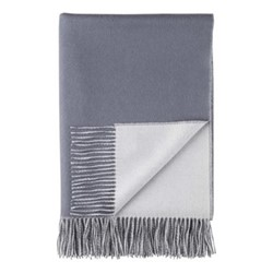 Plain Reversible Double Face Throw, 190 x 140cm, slate blue / pale grey