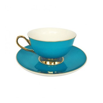 Gold rim Set of 4 teacups and saucers, H6x Dia15cm, teal