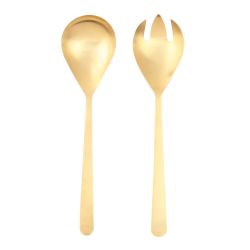 Oslo Salad servers, Matte Gold With Gift Box