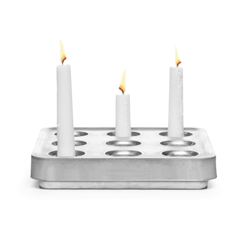 Stumpastaken Small candle holder, 22.5 x 22.5 x 4cm, Silver