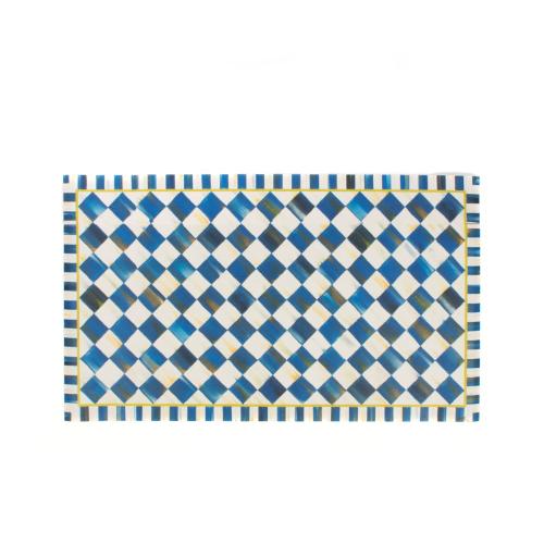 Royal Check Floor mat, 0.9 x 0.6m, Blue & White
