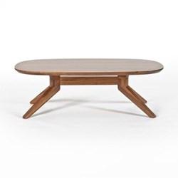 Oval walnut coffee table H39 x W90 x D77.4cm