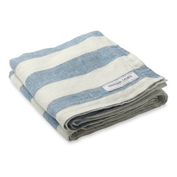 Stripe Linen beach towel, water blue and white