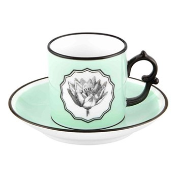 Herbariae Coffee cup and saucer, 12 x 6cm, green