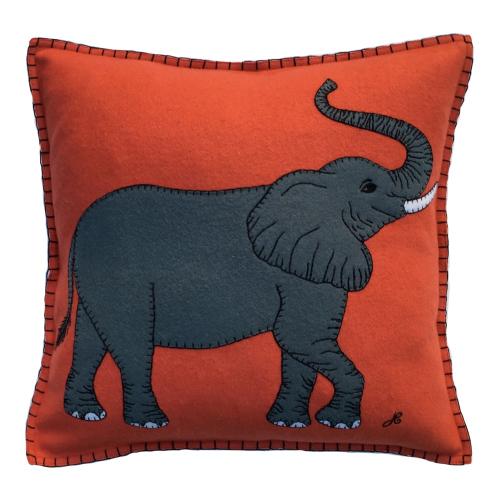 Elephant Cushion, 46 x 46cm, Orange