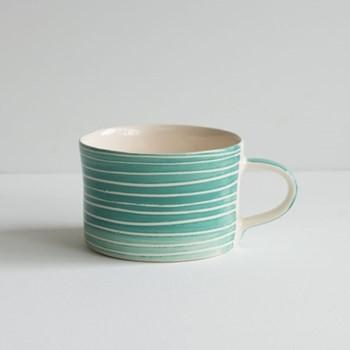 Sgrafitto Stripe Set of 6 mugs, H7 x W10.5cm, mint