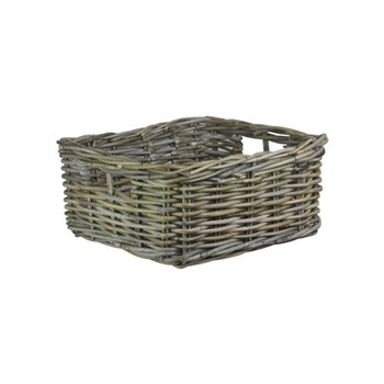 Grey Rattan Square storage tray, L40 x W40 x H20cm, grey rattan