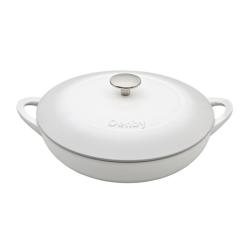 Natural Cast Iron Shallow casserole dish, D30cm, Light Grey