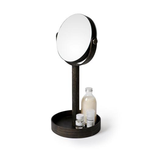 Close Up Mirror, H45 x W19.5 x D19.5cm, Dark Brown/Mirrored Glass