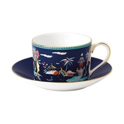 Wonderlust - Pagoda Teacup and saucer, 15cl, blue