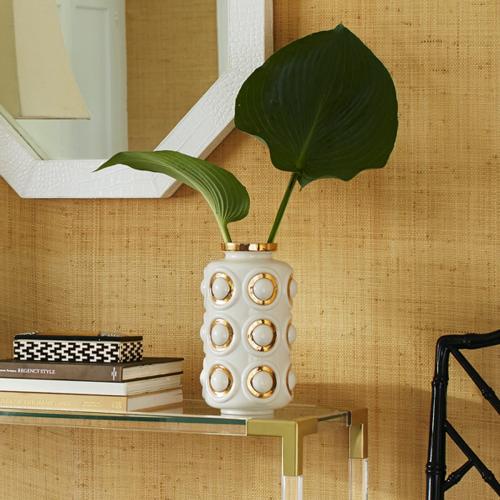 Futura Circles vase, Dia18.1 x H32.39cm, White/Metallic Gold