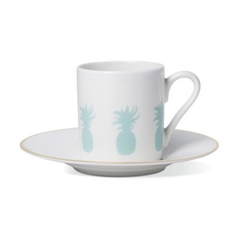 Pineapple Espresso cup and saucer, H6 x D5.5cm cup - 13cm saucer, hand-painted gold rim