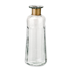 Chara Decorative Large bottle, D23 x 9cm, Clear Glass & Antique Brass