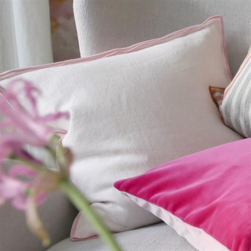 Brero Lino Cushion, H45 x W45cm, Blossom & Pearl