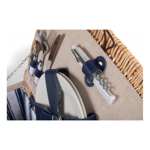 Nautical Picnic hamper - 2 person, H26 x W30 x L40cm, Cream & Blue
