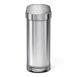 Slim pedal bin, H62cm - 45 litre, brushed stainless steel