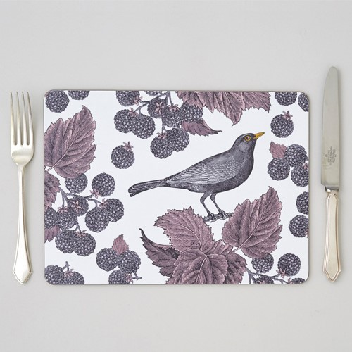 Blackbird & Bramble Set of 4 placemats, 29 x 21cm, white/purple/pink