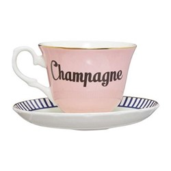 Champagne Set of 6 teacups and saucers, H8 x D14cm