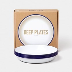 Set of 4 enamel deep plates, D22cm, white with blue rim